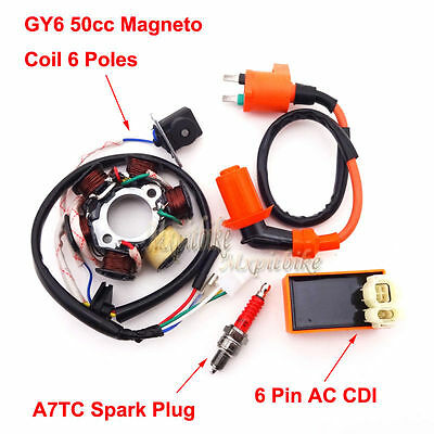 Racing Ignition Coil Magneto Stator Spark Plug CDI GY6 49cc 50cc Moped Scooter