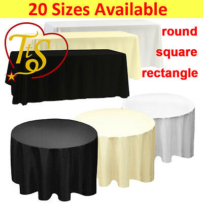 1 5 10 WHITE BLACK IVORY Polyester Tablecloth TABLE COVER CLOTH Wedding Party