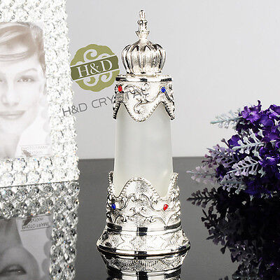 Vintage Metal Empty Glass Perfume Bottle Refillable Wedding Favor Decor Gift