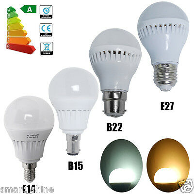 6 12x E14 E27 B22 B15 5W SMD LED Globe Bulbs Warm Day Light Spotlight Lamps