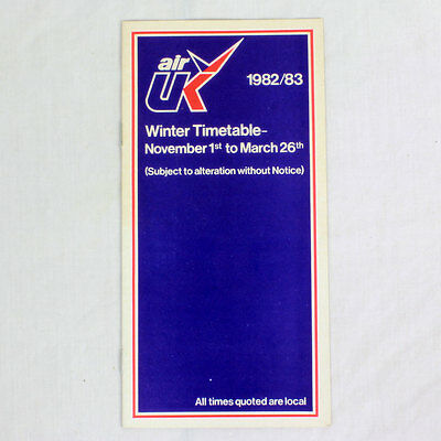 Air UK - Airline Timetable - Winter Timetable 1982/83
