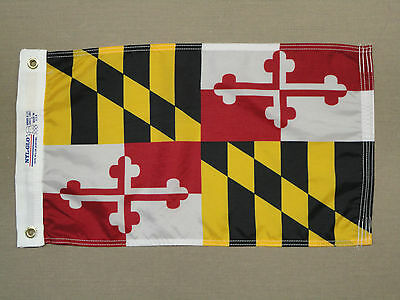 "Maryland State Indoor Outdoor Dyed Nylon Boat Flag Grommets 12"" X 18"""