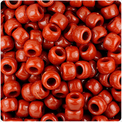 Rust color 9x6mm Pony Beads made in USA 500pc kandi crafts kids jewelry