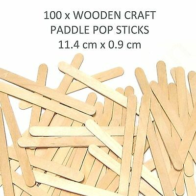 100 Wooden Craft Stick Paddle Pop Popsicle Coffee Stirrers Ice Cream Sticks 11cm