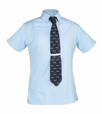 Shires Childs Short Sleeve Horse Riding Show Showing Tie Shirt Yellow White Blue