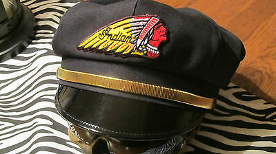 Vintage Style Biker Road Captain's Hat/cap - Indian Patch & Gold Strap !!