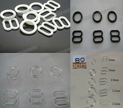 100 Plastics Bra strap Adjustment slide Rings Hooks Figure 8 & 0 & 9 pick 3color