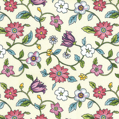 Vintage Style Floral High Thread Count Cotton Sateen Fabric Per M Metre