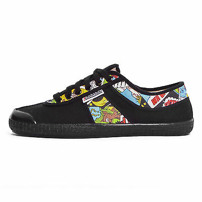 Kawasaki scarpe 60701 sneakers canvas tela nero black fumetto comic