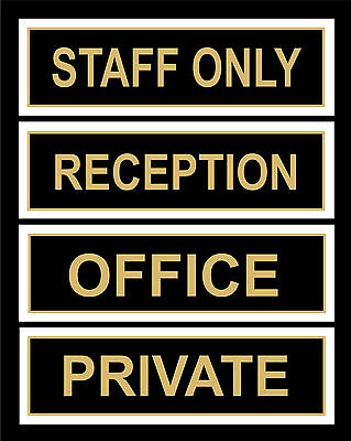 Office Door Signs, Reception, Staff Only, Private - 200x65mm Retail, Work, Shop