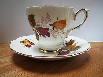 Sutherland Bone China - Cup And Saucer - Tan And Red Roses