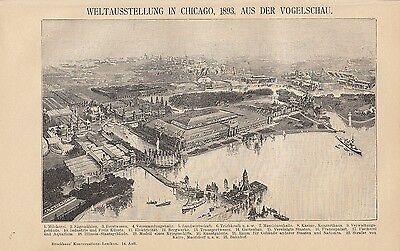 1894 weltausstellung World Fair Chicago 1893 Lithographie Alter Druck Old Print