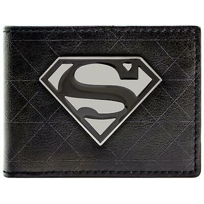 New Official Cool Dc Superman Silver Symbol Badge Bi-Fold Wallet
