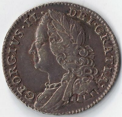 GB-UK 1758 Silver 6d Six Pence George II Early Milled (c.1662-1816) Extra Fine