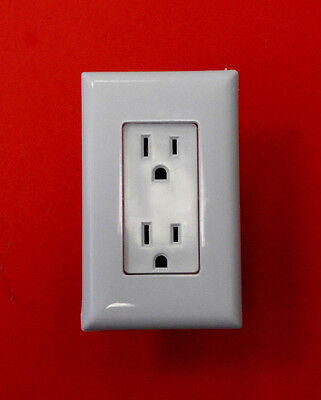 Mobile Home RV Self Contained Outlet Plug with Snap Cover Plate White Decorator