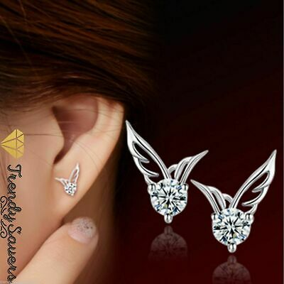 Women/Girls 925 Sterling Silver Crystal Butterfly/Angel wings Stud Earrings