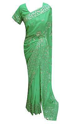 Indian party wear sarees bollywood shimmer wedding exclusive sari uk 2075 Green
