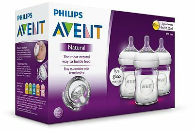 3 Philips AVENT Natural Glass Baby Bottles 120ml 0M+ Newborn Size 1