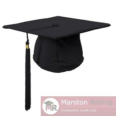Academic Graduation Mortarboard Hat Cap with tassel Black--one size fits all