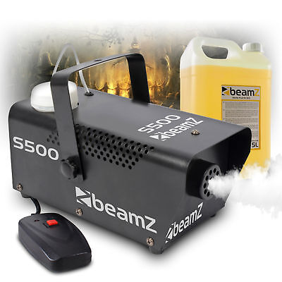 Beamz s500 Remote Control Smoke Machine + 5 Litres of HQ Fog Fluid