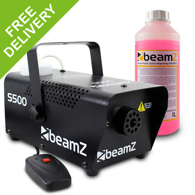 Beamz s500 Remote Control Smoke Machine + 1 Litre Quick Dispersing Red Fluid