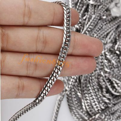 Wholesale Lot Meter 5mm 316L Stainless Steel Curb Smooth Chain DIY Jewelry Bulk