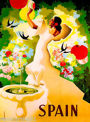 Spain Senorita at Fountain Spanish  Vintage Travel Art Poster Advertisement