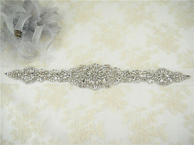 Stunning Crystal Rhinestone Bridal Belt Sash Wedding Accessory Any Colour Ribbon