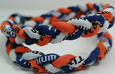 "Wholesale Lot of 13 Titanium Tornado Sport Necklaces 20"" Navy Orange White Blue"