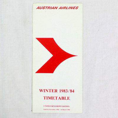 Austrian Airlines - Airline Timetable - Winter 1983 / 1984 - UK Edition