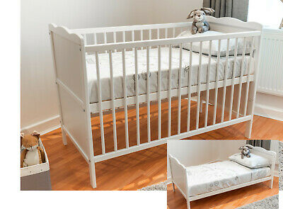 White Cot Bed 120 x 60cm & Cotbed Deluxe Mattress, Converts into a Junior Bed