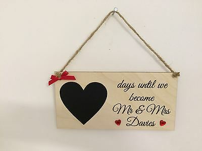 Countdown to wedding wood chalk board sign plaque Mr & Mrs gift personalised
