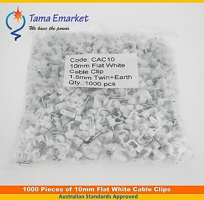 1000 x 10mm Flat Cable Clips for Skirting Boards Electrical Power Cables White