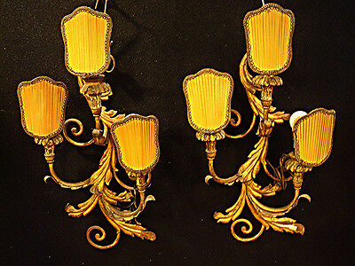 Antique Pair of Jansen Bronze Wall Sconces