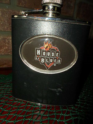 """""""HOUSE OF BLUES"""" FLASK ORIG.SOUVENIER BLACK 8 OZ. STAINLESS STEEL"""