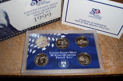 1999 US MINT 5 COIN STATE QUARTER PROOF SET with BOX & COA