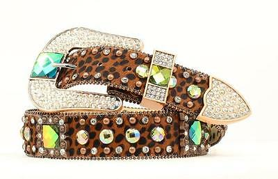 Nocona Western Womens Belt Leather Crystal Concho Bling Brown N3417602