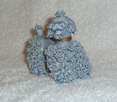 Vintage Blue Spaghetti Poodle Dog Figurine Rockabilly Hand Painted 1950s Retro
