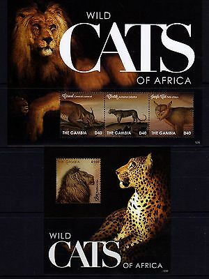 Gambia Wild Cats Sheetlet 3 + M/S MNH