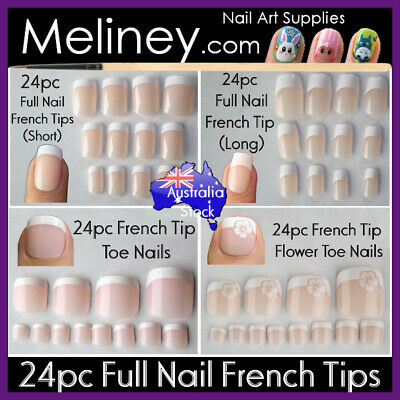 24pc Full Cover French Nail Tips Natural Finger Toe False Fake Manicure Nails