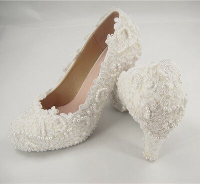 Handmade Off White Floral Lace Bridal Shoes Pearl High Heel Wedding Shoes UK3-8