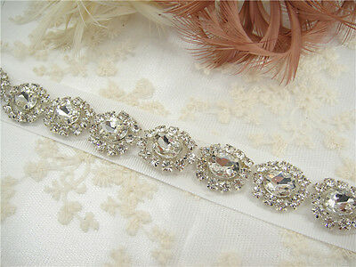 "18"" Long Handmade Rhinestone Wedding Sash Ivory Diamante Bridal Belt Waistband"