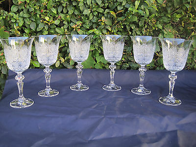 Vintage Bohemia Queen Lace Hand Cut Lead Crystal Wine Goblat 7.4 Oz  6 Pc,220 Ml
