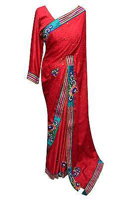 Women's Indian border floral sari Bollywood party wear designer sarees UK 7010