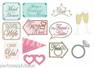 12 REVERSIBLE Bridal Shower WEDDING PHOTO SIGNS Engagement Party Fun PHOTO BOOTH