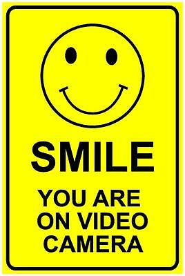 (2 X Signs) Cctv Smile You Are On Video Camera - 300 X 200Mm - Security Sign