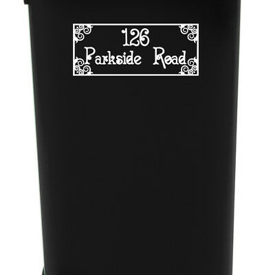 Wheelie Bin House Number & Street Name Decal Sticker Ornament Floral Decor Waste