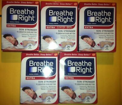 (104) Breathe Right EXTRA Nasal Strips (4 x 26 Count Boxes) World Wide Shipping