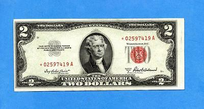 1953 A  $2 United States *STAR* Note, Red Seal, AU+ (#1875) SALE !!!