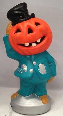 Vintage 60's Scarecrow Halloween Pumpkin Head Lamp, Nightlight Hand-Painted